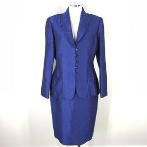 Carlisle 10 Royal Blue Silk Skirt Suit Quilted
